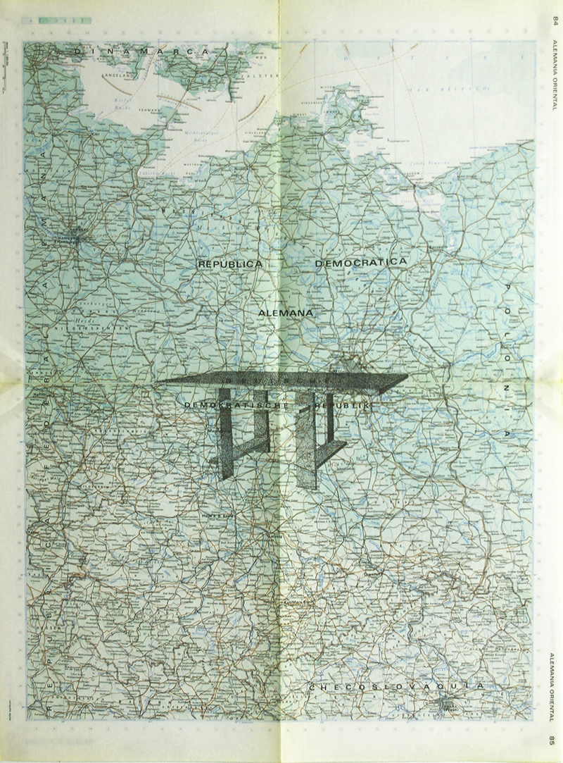 Gonzalo-Elvira.-La-mesa-de-J.-2015.-Tinta-sobre-mapa,-63-x-47-cm
