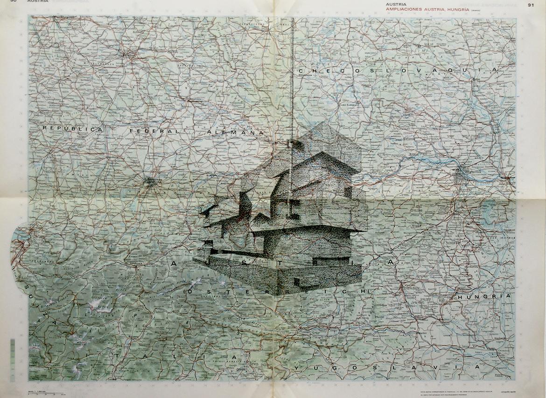 Gonzalo-Elvira.-Mies-van-des-Rohe.-2015.-Tinta-china-sobre-mapa.-2015.-47-x-63-cm