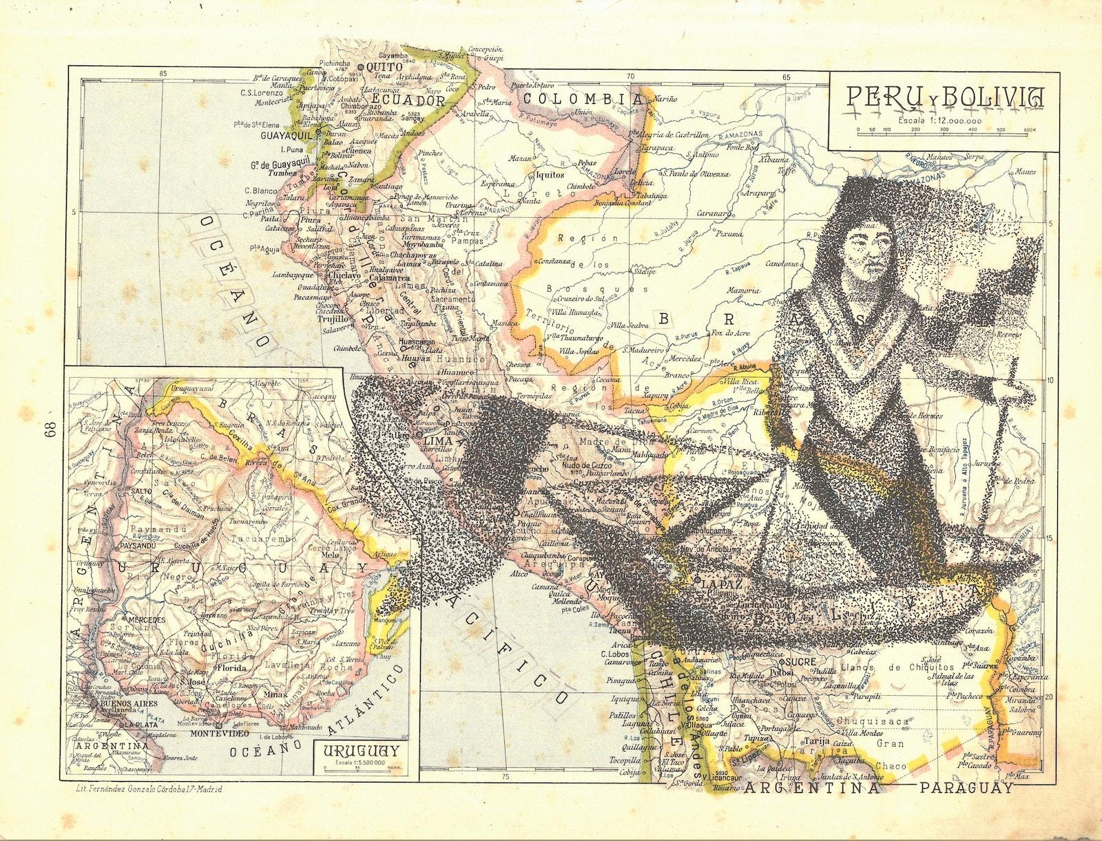 gonzalo Elvira. Los sueños de barcos. 2019. tinta sobre mapa 24 x 36 cm. 1500€