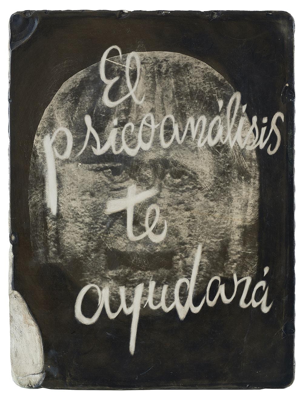 gonzalo elvira. El psicoanálisis te ayudará. Esgrafiado sobre piedra litorgráfica, 42 x 33 x 5 cm. 3000€